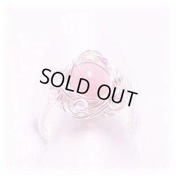 画像1: ピンクオパール ワイヤーアートリング